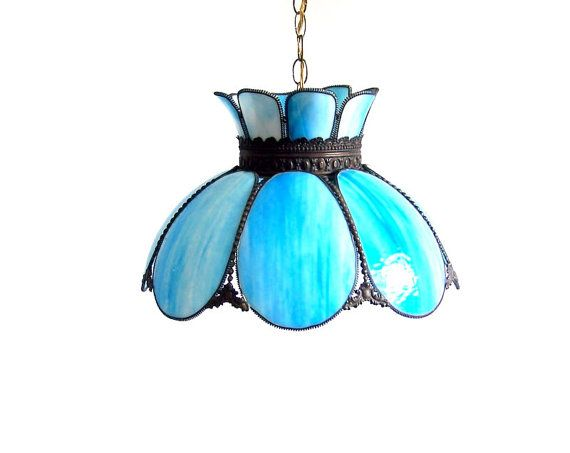 Vintage Stained Glass Lamp Tulip Swag Pendant Blue White Marbled Tiffany  Curved Glass Panels Hanging Overhead Ceiling Parlor Chandelier - Vintage Stained Glass Lamp Tulip Swag Pendant Blue White Marbled
