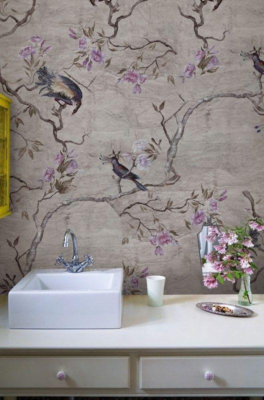 Beautiful Bird And Flowering Branch Wallpaper Mural In This Bathroom Design    Unique Bathroom Ideas U0026