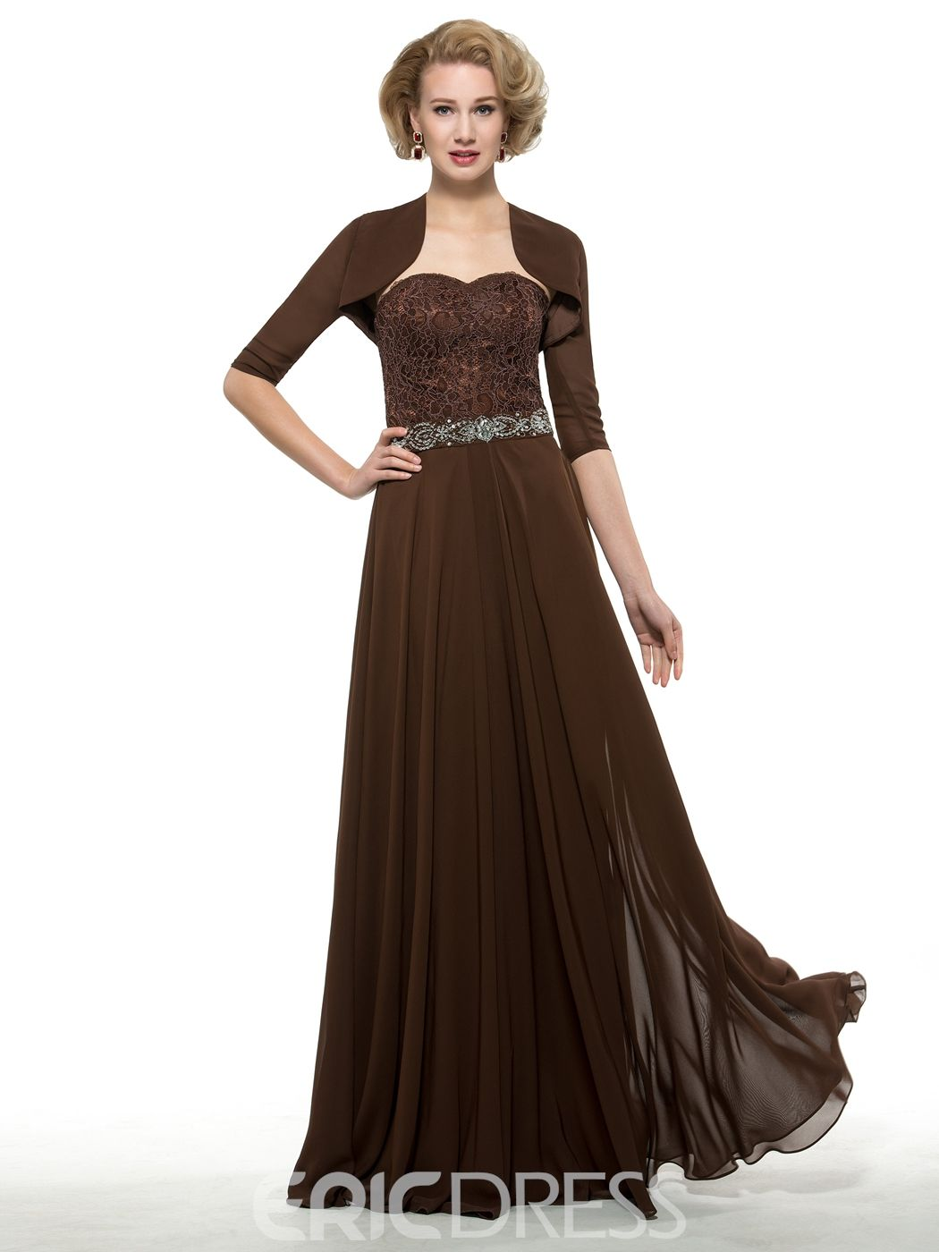 Elegant sweetheart a line mother of the bride dress with jacket