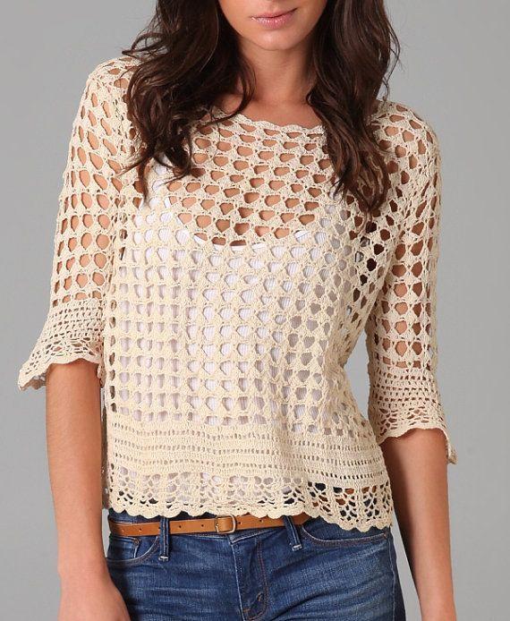 Crochet top   blusas tejidas   Pinterest   Blusa azul