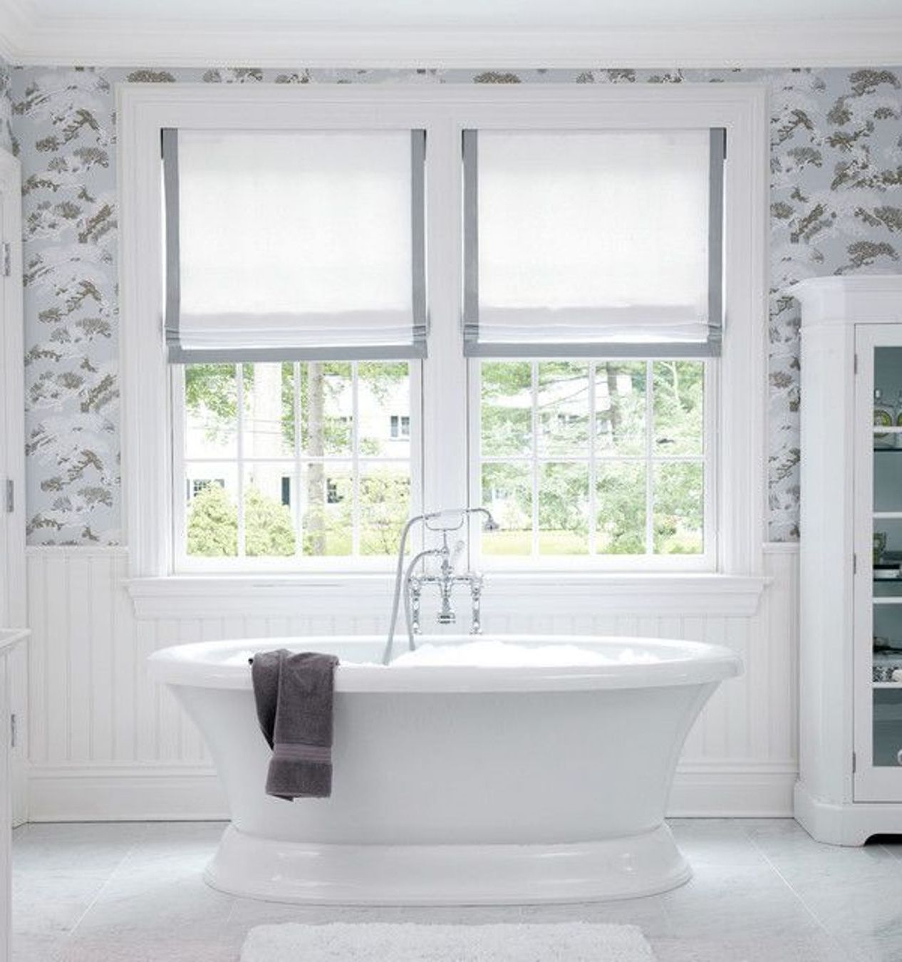 Beautiful Bathroom Will Dusty Blue And Gray And White Patterned Wallpaper,  White Wainscoting, White Part 35