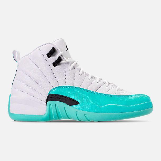 97cc9084e198 Right view of Girls  Big Kids  Air Jordan Retro 12 Basketball Shoes in  White Black Light Aqua