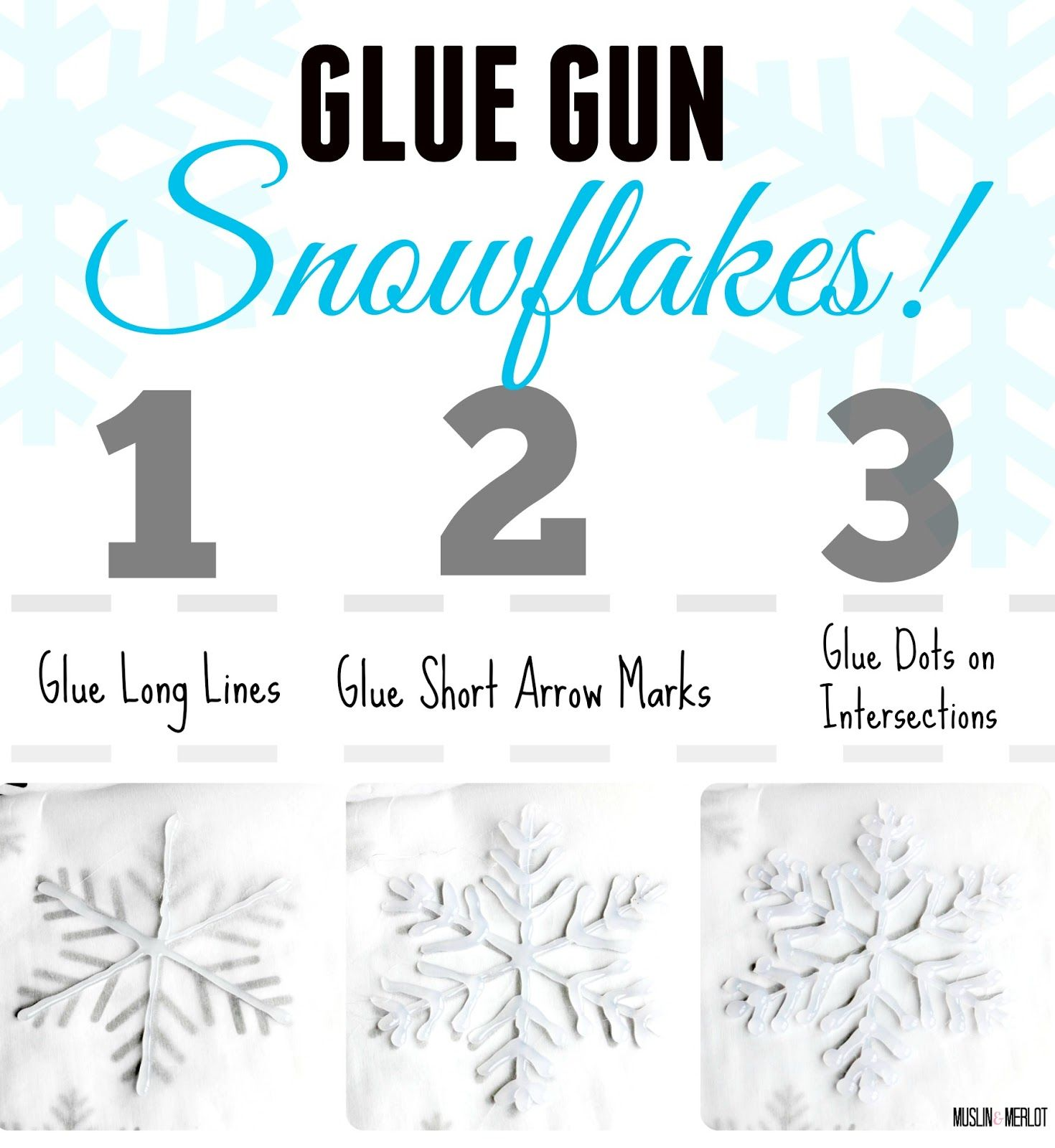 Glue Gun Snowflake Craft step-by-step
