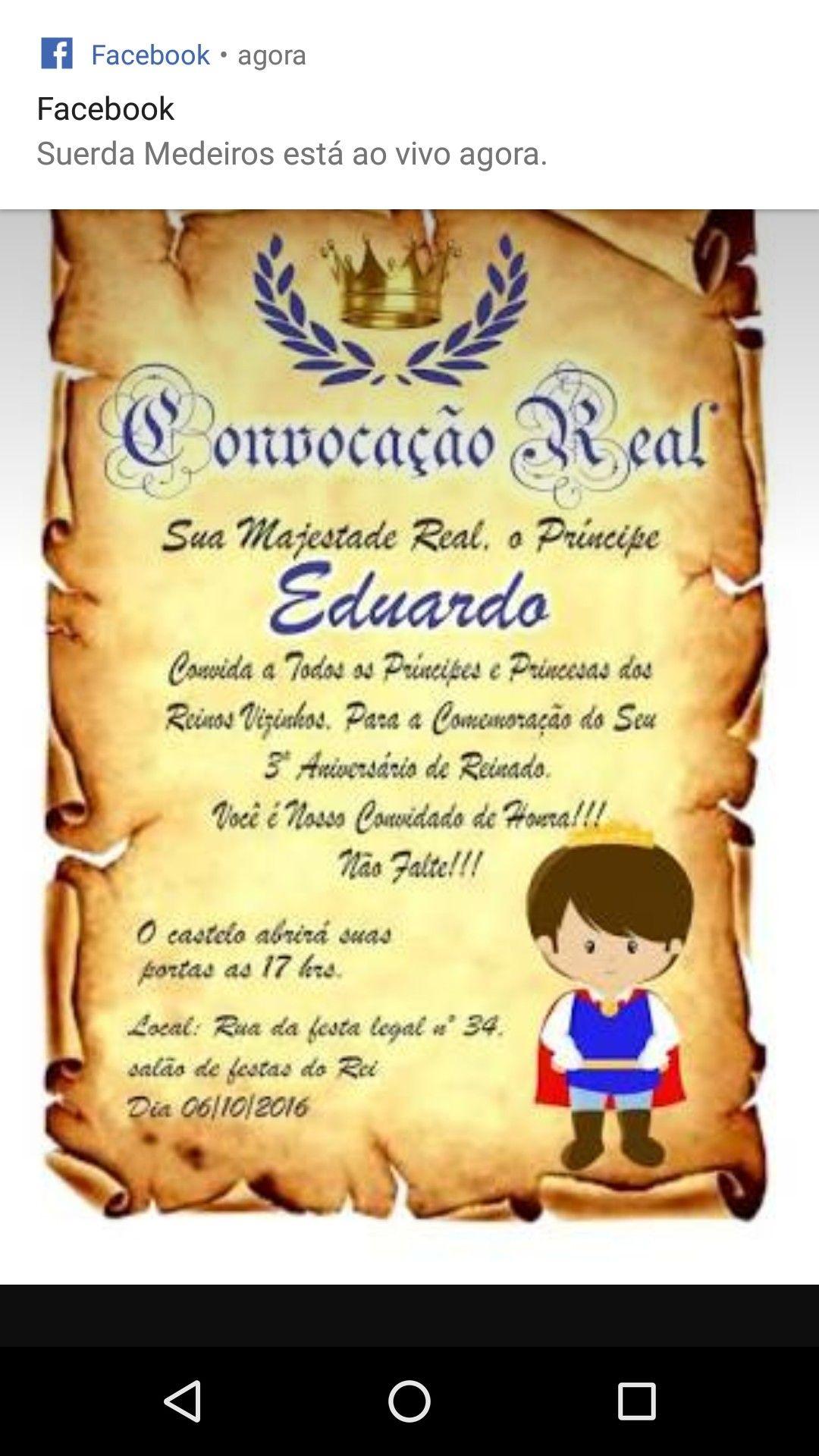 Príncipe | Convite pergaminho, Festa de aniversário do príncipe, Convite