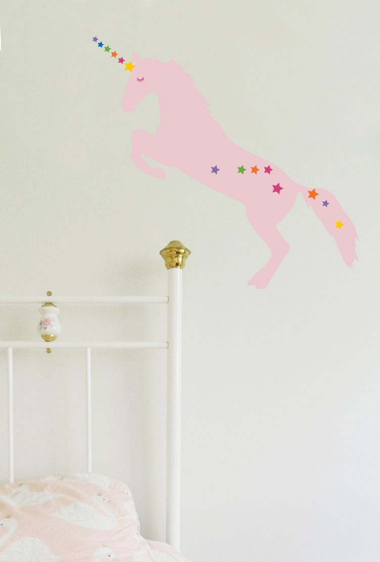 Customise Your Unicorn Wall Sticker With Stars And Sleepy Eyes - Vinyl decals australia