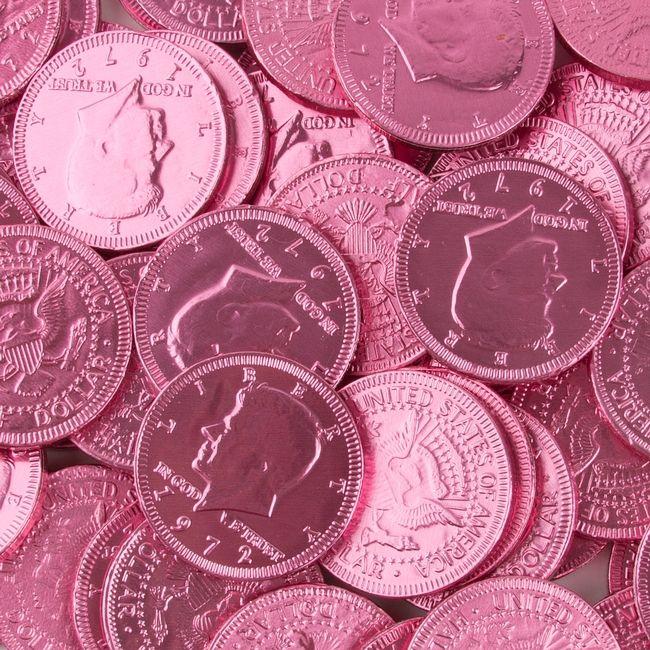 Dark Pink Chocolate Coins - 1 LB Bag • Chocolate Coins • Bulk Chocolate