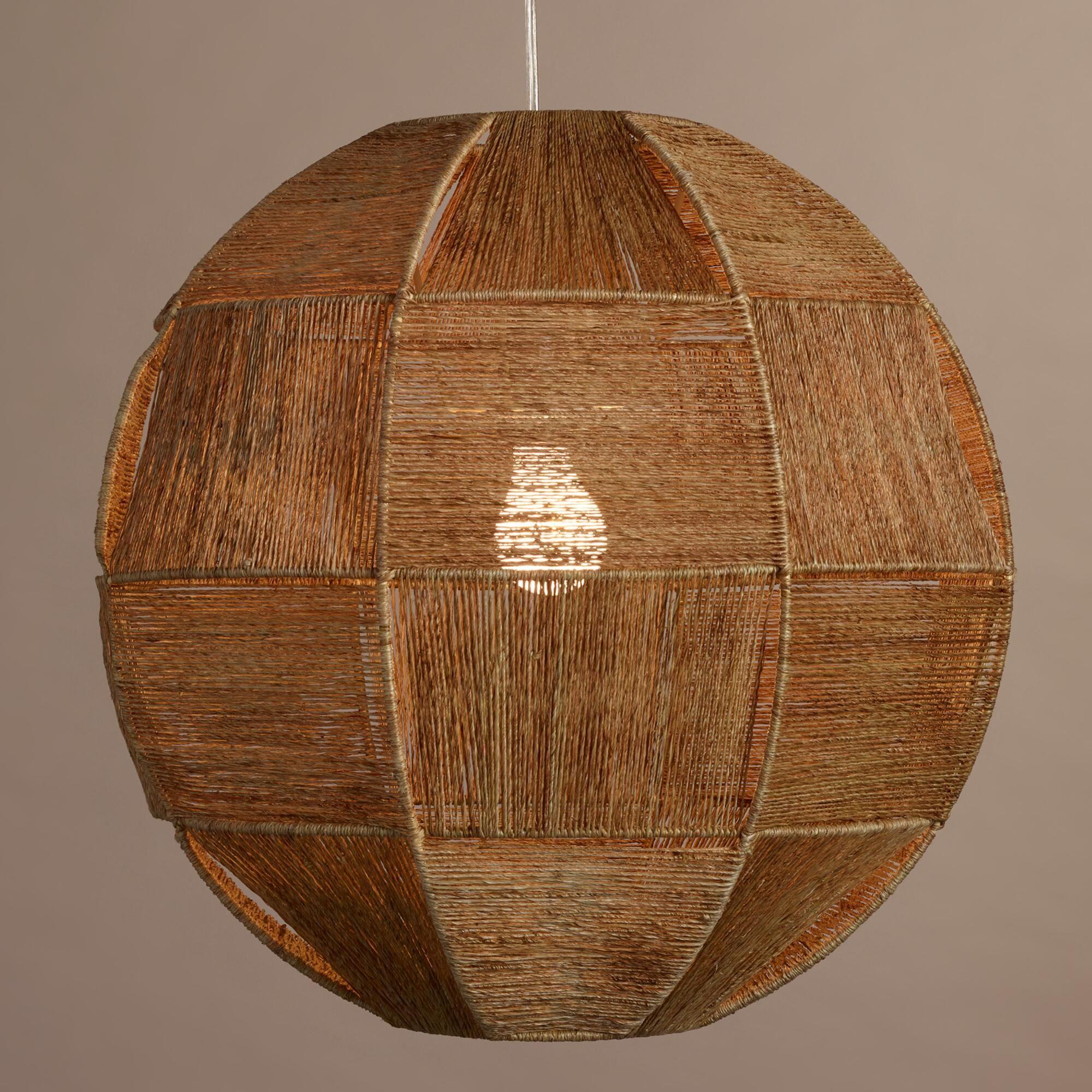 Marvelous Basket Weave Orb Jute Fiber Pendant Lamp