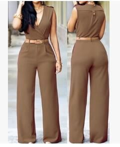 13 Colors SXxl Women Jumpsuit Summer Sleeveless VNeck Long Overalls Rompers Bow Playsuit With Pu Waist Belt Color Black Size S #casualjumpsuit