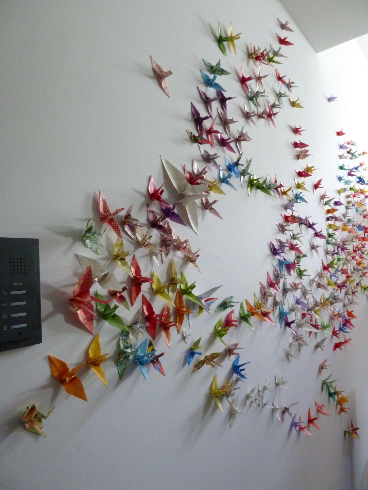 1000 Kraniche für die Wand | Kranich, Basteln und selbermachen und ...