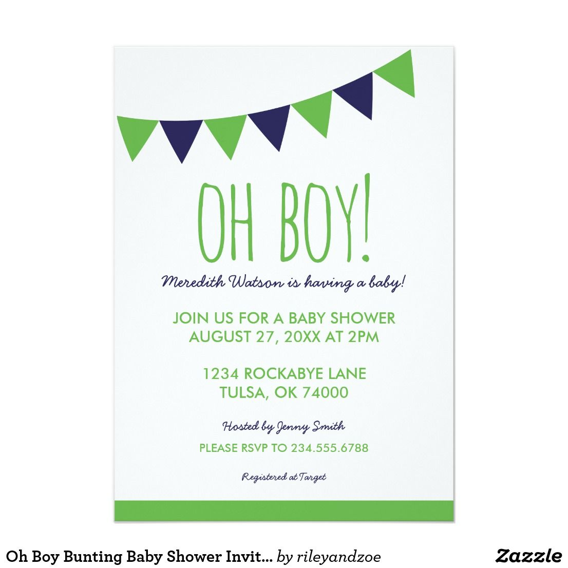 Oh Boy Bunting Baby Shower Invitation | Boy baby showers and Shower ...