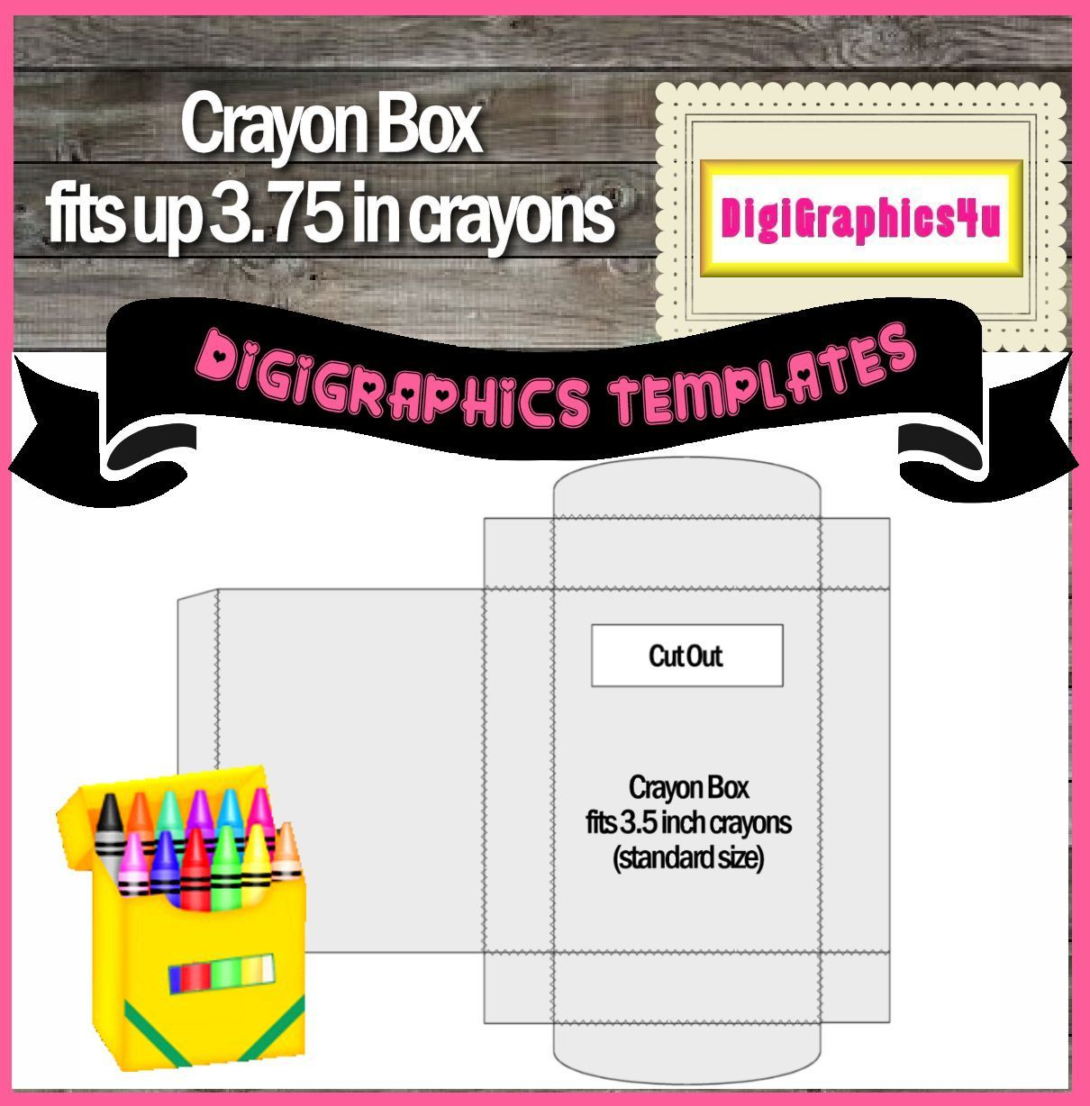 Crayon Box Printable Template Instant Download Png Format Digital