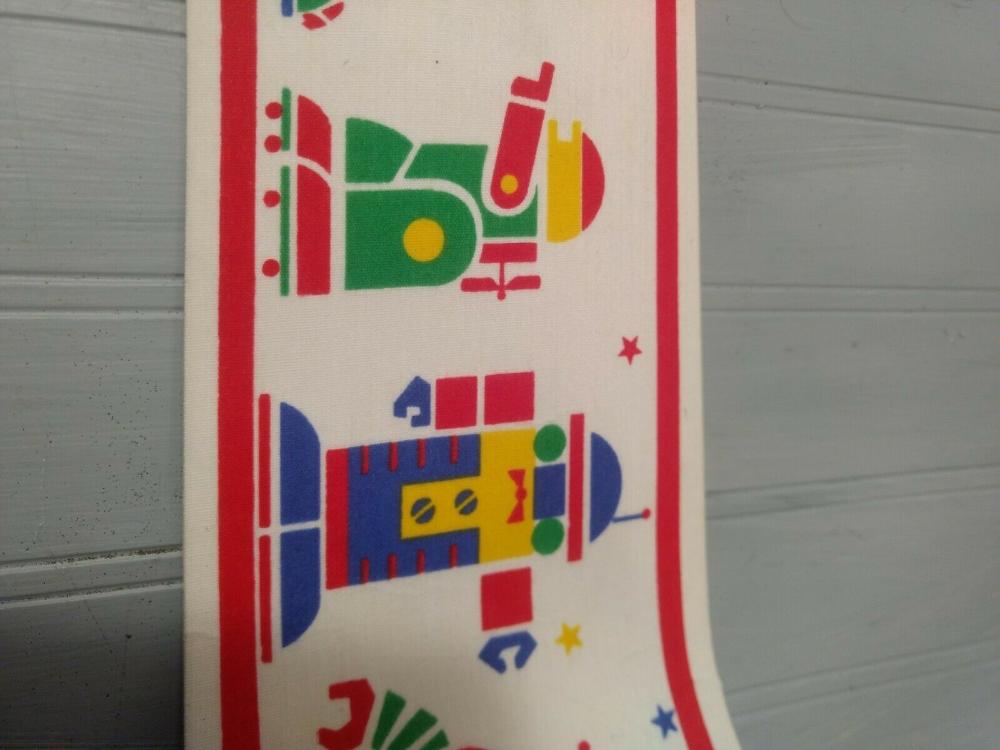 Vintage Robot Fabric Self Adhesive Wallpaper Border Stik Trim Wesco Reltex 90s Ebay Vintage Robots Self Adhesive Wallpaper Self Adhesive Wallpaper Borders