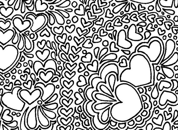 Abstract hearts printable adult coloring page Adult coloring