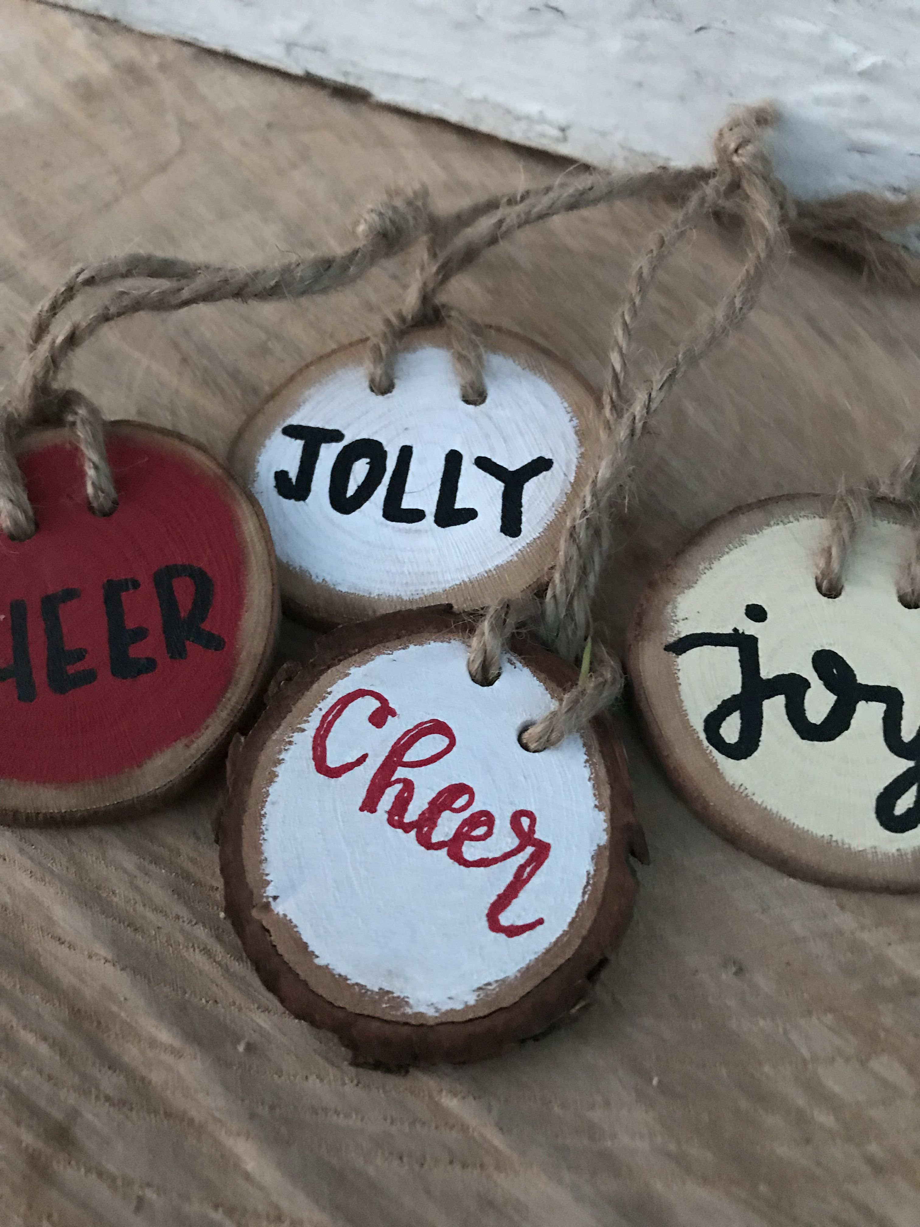 Wooden christmas ornaments gift tags homeandpine christmas