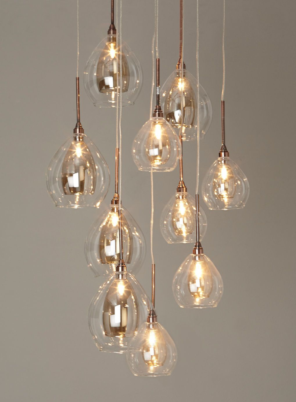 BHS Illuminate Atelier Carmella 10 Light Cluster Glass And Copper Ceiling Dining Room
