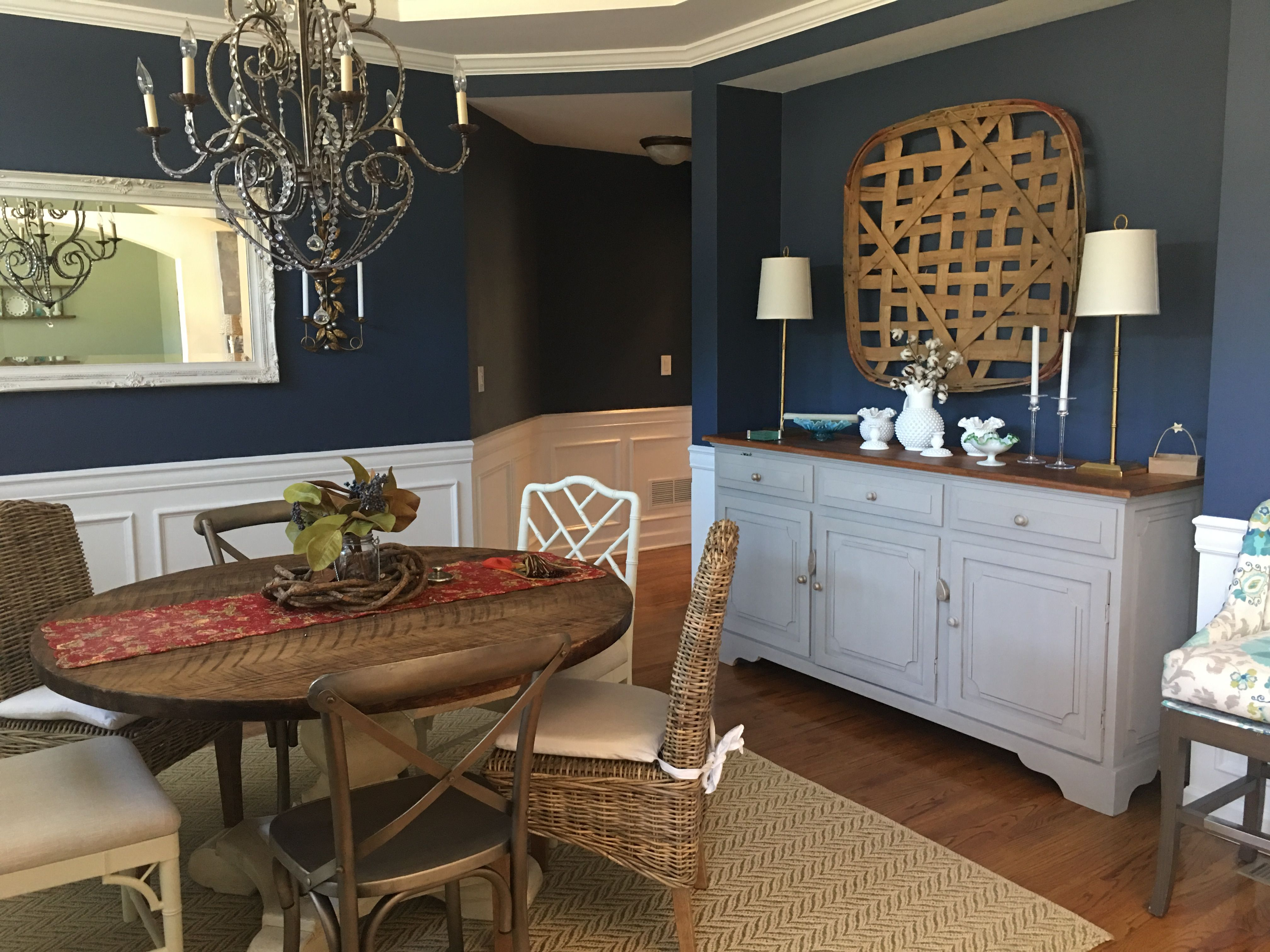 My Dining Room. The trim and faux wainscoting Distant Gray by Benjamin Moore and the walls Van Deusen blue.