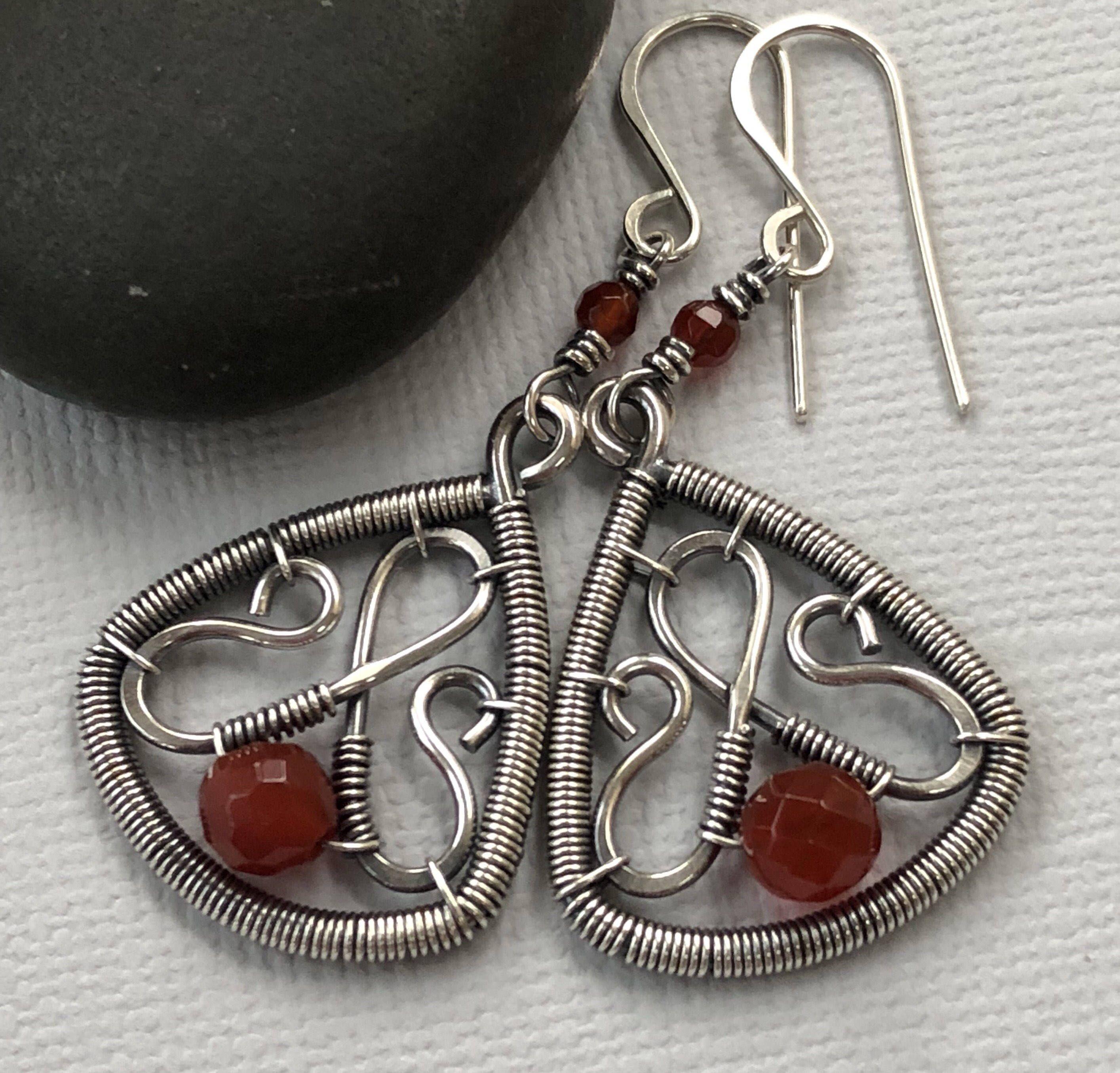 Silver Earrings/ Wire Earrings with Carnelian/ Orange Carnelian ...