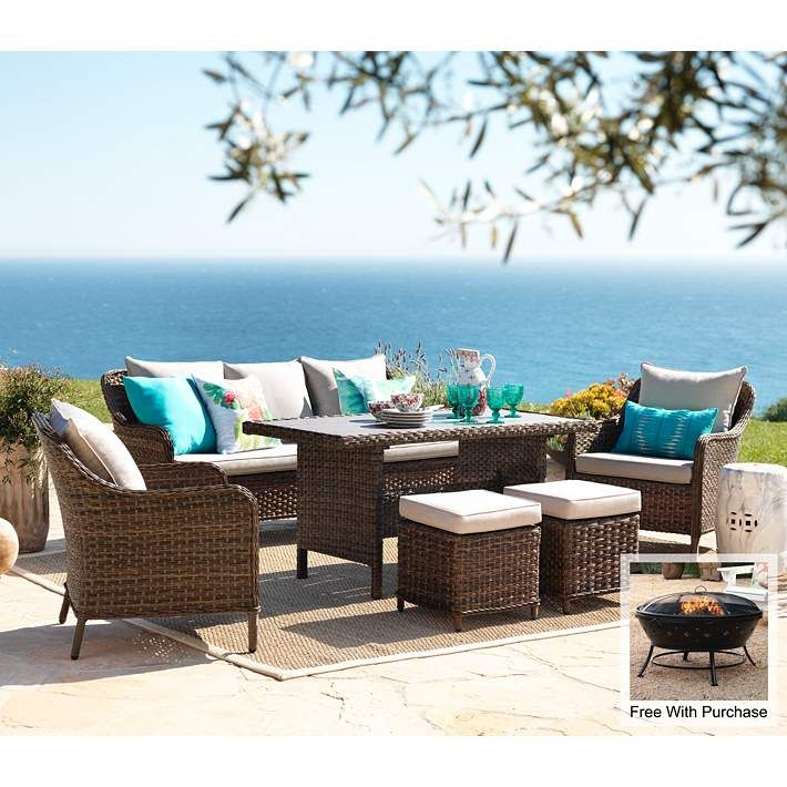 Woodlake 6 Piece Wicker Outdoor Seating Set With Firepit 12g40 8x050 Lamps Plus
