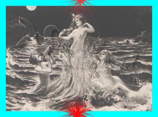 s80 Mermaid Queen Postcard Print Cotton Fabric by MERMAIDSFABRIC