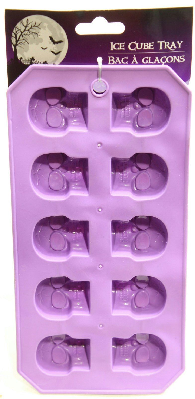 pack of 2 spooky halloween rubber ice cube tray (purple skulls
