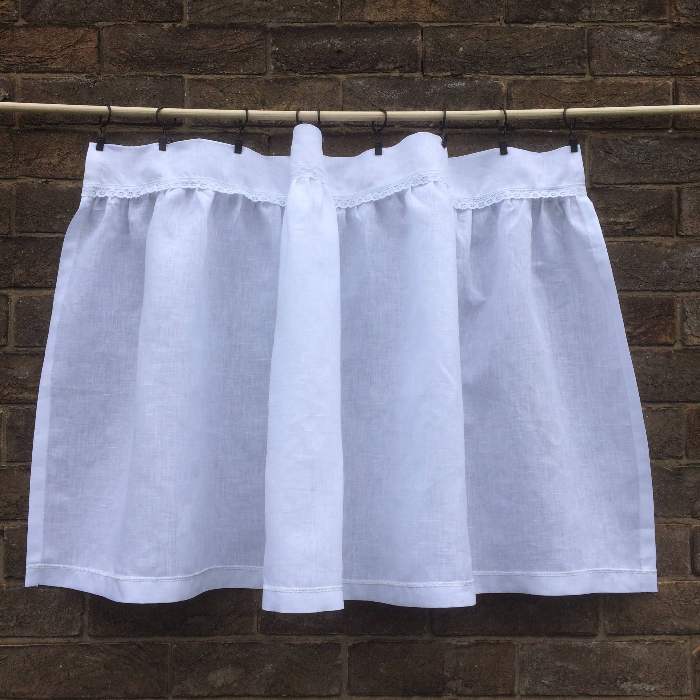 French cafe curtains for kitchen - White Linen Lace Cafe Curtain Shabby Chic Window Curtain Gathered French Kitchen Curtain