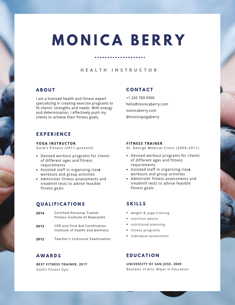 Affordable resume design! Blue health, Resume, Resume