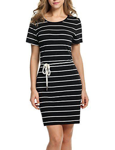 d484de318e1d HOTOUCH Womens Casual Oneck Sundresses Striped Short Dress Mini ...