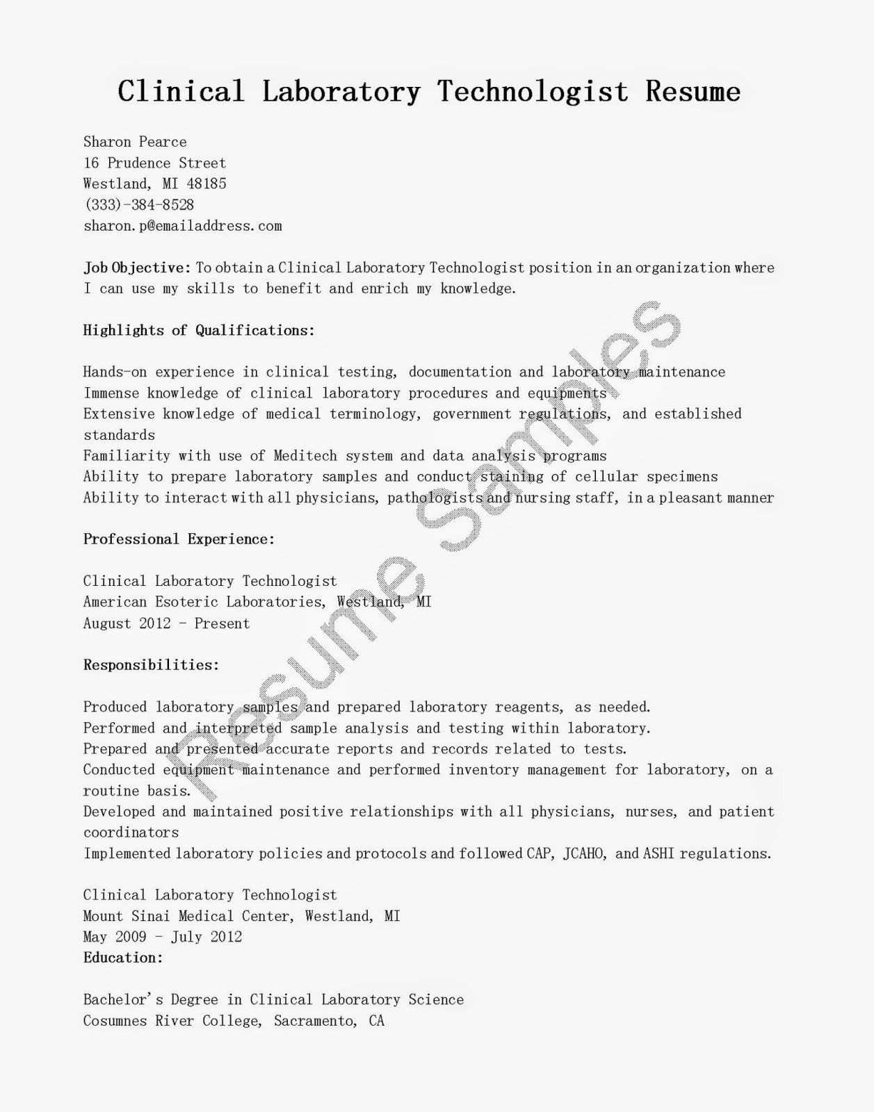 Clinical Laboratory Scientist Resume Fresh Resume Samples Clinical Laboratory Technologist Resume Sample Good Resume Examples Registered Nurse Resume Resume