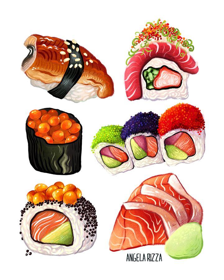 Sushi by on DeviantArt ศิลปะ
