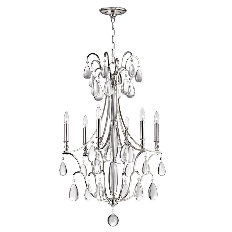 Hudson Valley Lighting 9324 Crawford 6 Light Chandelier With Crystal Accents Polished Nickel Indoor Chandeliers