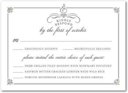 Keep Track Of Your Wedding Guests Rsvps And Menu Choices With Stylish Response Cards Custom Choices I Wedding Response Cards Rsvp Wedding Cards Wedding Rsvp