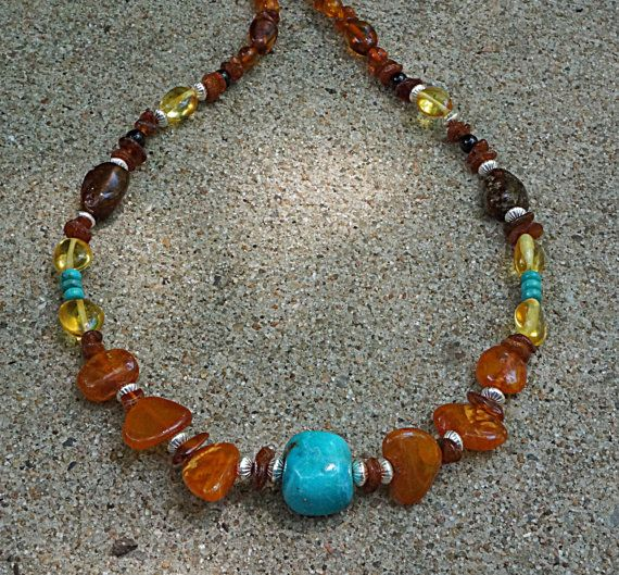 UNISEX Genuine Natural MultiColor Baltic Amber with Kingman Turq. Focal Bead Necklace in Sterling Silver by EurekaSpringsRocks
