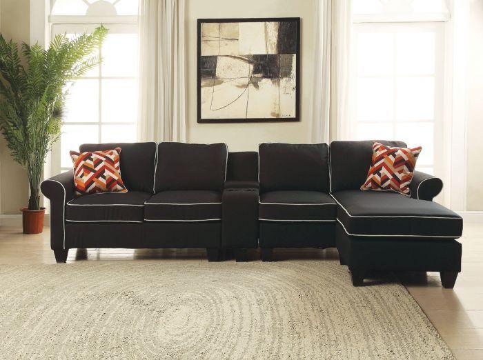 Schwarz Stoff Sectional Sofa | Ecksofas, Sitzgruppe