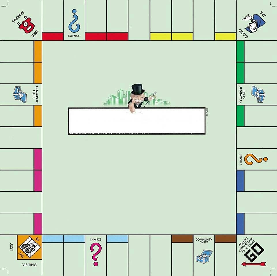 Empty monopoly board school pinterest tischspiele for Custom monopoly board template