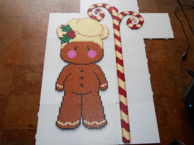 Christmas Gingerbread man hama perler beads (15 pegboards) by  hardy8676