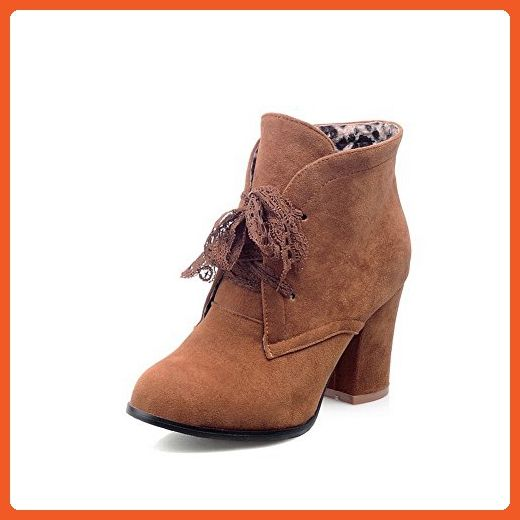 Women's Solid High Heels Round Closed Toe Imitated Suede Lace Up Boots
