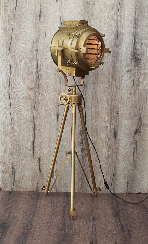 Vintage Metal Nautical Spotlight Tripod Floor Lamp