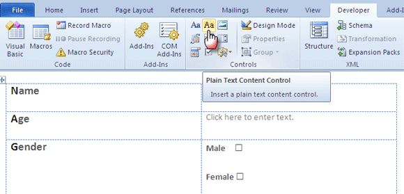Make a Fillable Form in Word 2016 Collect Data the Easy Way
