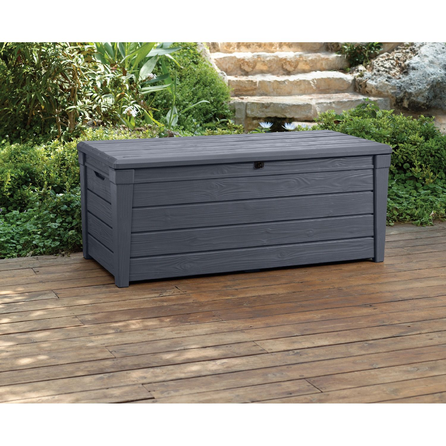 Keter Brightwood 120 Gallon Resin Deck Box Resin Deck Box Patio Storage Outdoor Storage Bench
