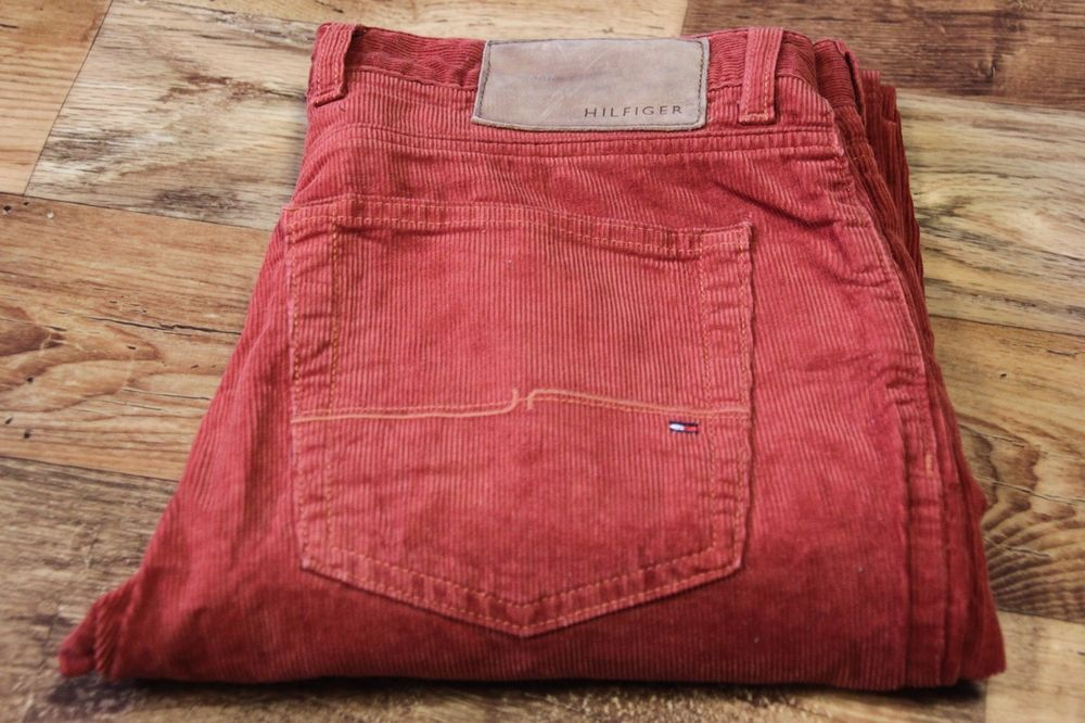 4e80ea5c62479 Men s TOMMY HILFIGER Mercer Straight Fit Red Cord Trousers Pants size W32  L34
