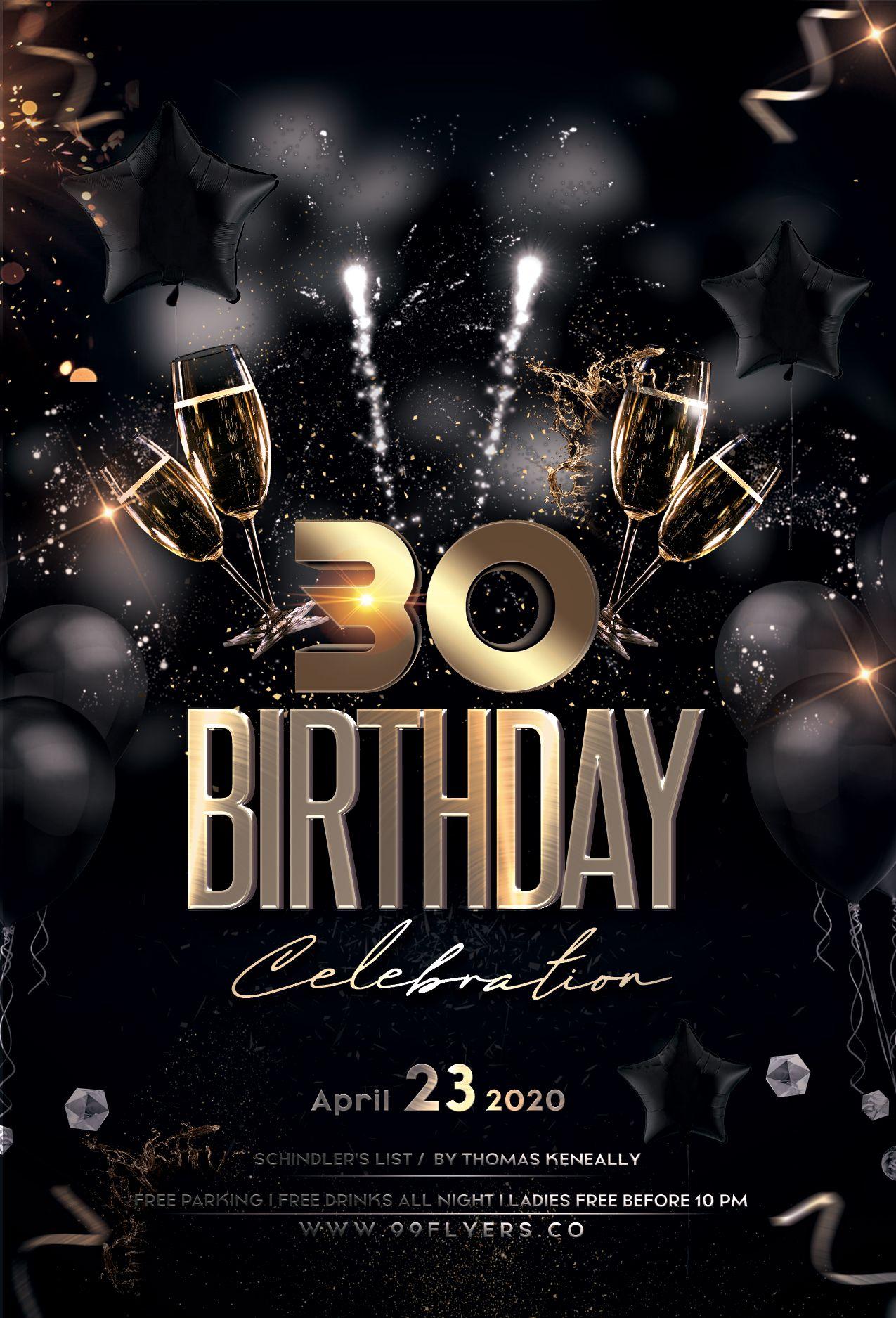 Birthday Bash Gold Black Free Psd Flyer Birthday Flyer Free Psd Flyer Templates Party Flyer Party flyer templates free downloads