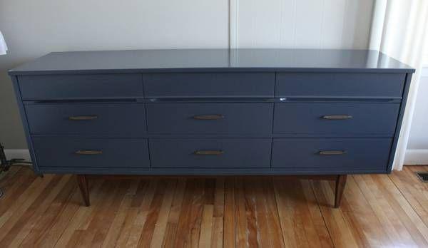 Best Navy Mid Century Modern Vintage Triple Dresser Credenza 400 x 300
