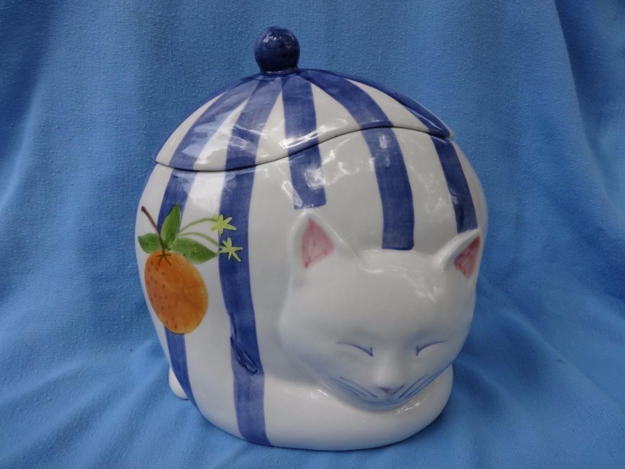 Cat Cookie Jar Laurie Gates Design Los Angeles Pottery Usa Blue