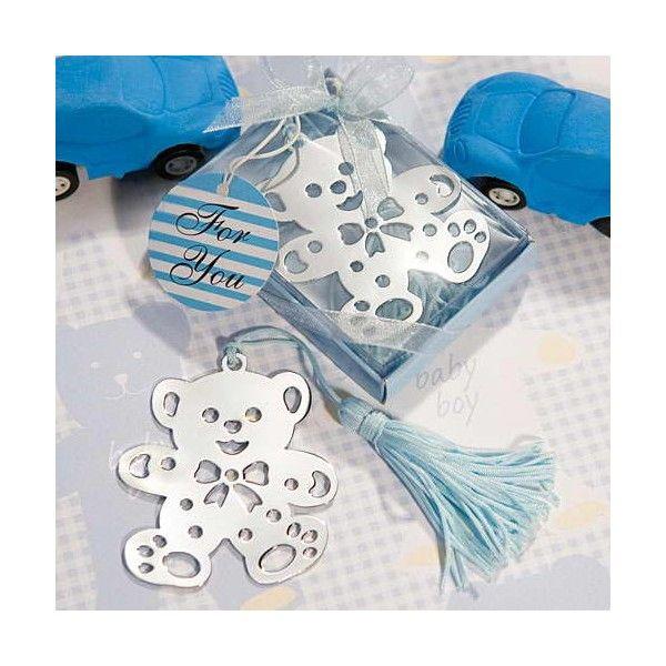 Simpático Osito Punto de Libro Azul, decorado en cajita y con lazo, incluye etiqueta personalizada gratuita.
