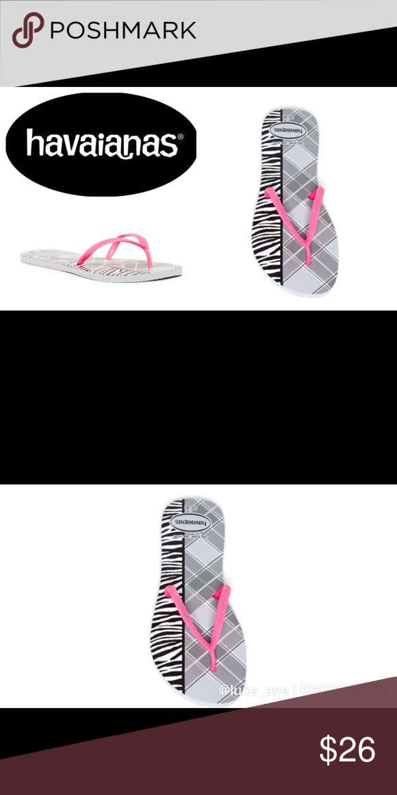 ec6ef3850524 🏝havaianas Zebra Animal Print Flip Flops Fun animal print spices up the  buttery-soft footbed on a classic flip-flop with slim straps. Rubber.