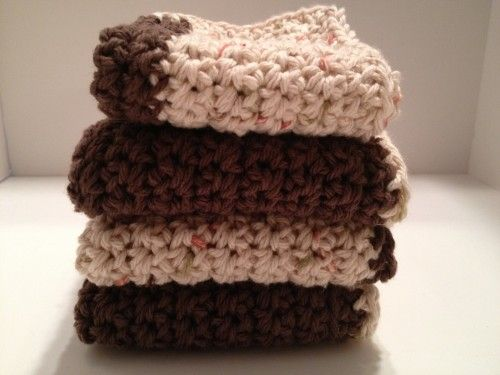 Brown and Tan Crochet Dishcloths Set of 4
