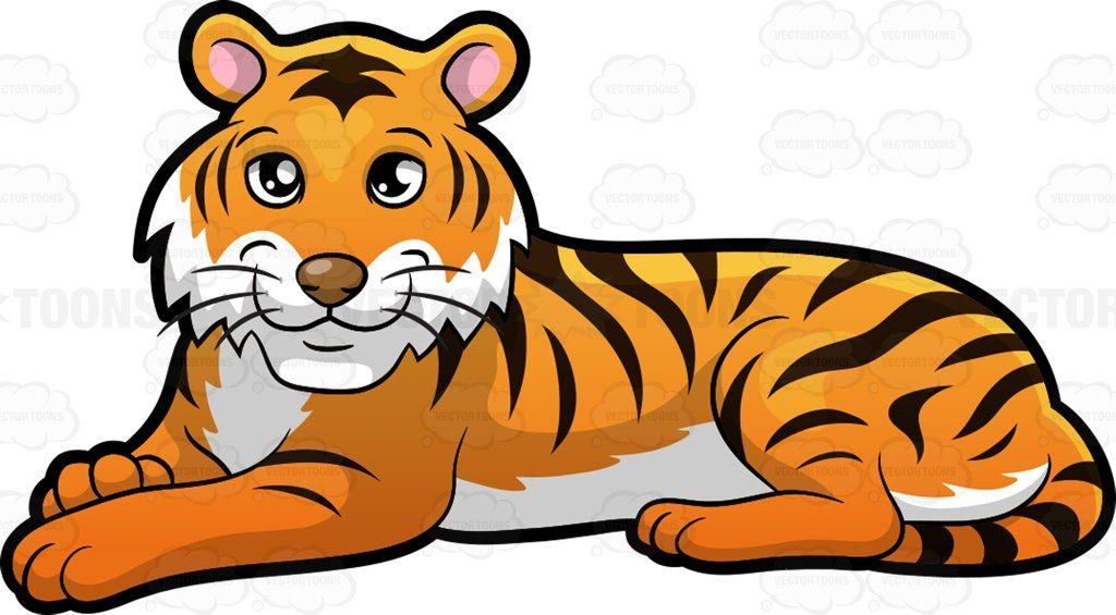 A Beautiful Tiger Lying Down Easy Cartoon Drawings Cartoon Tiger Animal Clipart