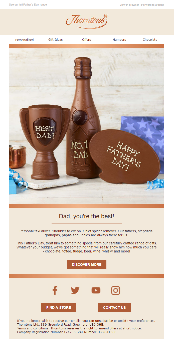 Father's Day Email from Thorntons #EmailMarketing #Email #Marketing #Gifts #chocolate #FathersDay #Fathers #Day