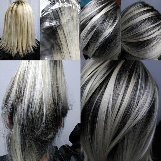result gray hair highlights