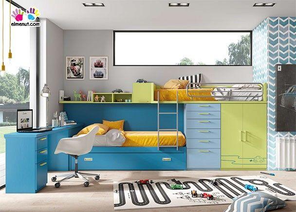 Habitaci n infantil con 3 camas tipo tren novedades de mueble juvenil en 2019 recamara - Habitaciones juveniles tipo tren ...